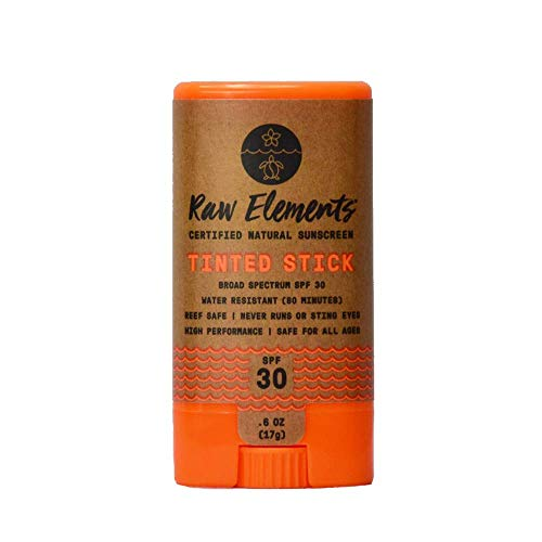 Raw Elements Tinted Face Stick Certified Natural Sunscreen | Non-Nano Zinc Oxide, 95% Organic, Very Water Resistant, Reef Safe, Non-GMO, Cruelty Free, SPF 30+, All Ages Safe, Moisturizing, 0.6oz