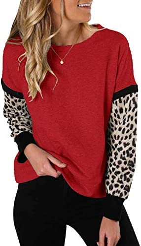 Topstype Womens Animal Print Long Sleeve Tops Round Neck Sweatshirts Casual Leopard Patchwork product image
