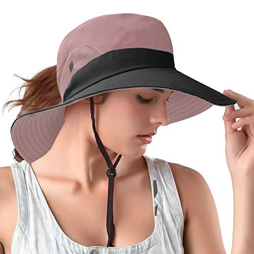 Ponytail Sun Bucket Hats for Women UV Protection Foldable Mesh Wide Brim Hiking Beach Fishing Summer Safari(Pink)