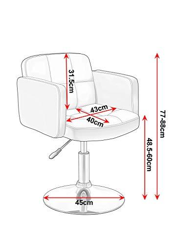 Clubsessel Sessel Kunstleder Creme Esszimmerstuhl Lounge Sessel höhenverstellbar drehbar Duhome 0493 - 7