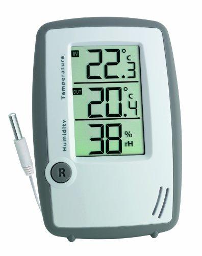 TFA Dostmann Digitales Thermo-Hygrometer, mit Temperatur-Kabelfühler, zur Kontrolle von Außentemperatur und Raumklima, auch für Gefriergeräte/Aquarium geeignet