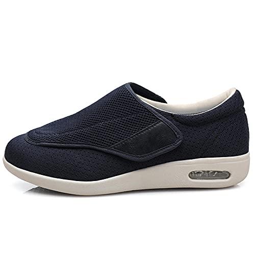 CCSSWW Zapatos Anchos Hinchados para Hombres,Zapatos DiabéTicos para Hombre Ajustable-Azul_37,Zapatos De Punta Abierta Ajustables