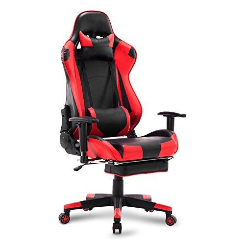 WOLTU Gaming Stuhl Racing Stuhl Bürostuhl Chefsessel Schreibtischstuhl Sportsitz mit Kopfstütze und Lendenkissen, Armlehne verstellbar, mit Fußstütze, Kunstleder, höhenverstellbar, Rot, BS14rt