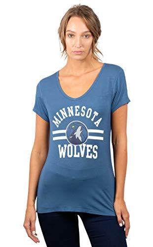 Ultra Game NBA Minnesota Timberwolves Womens Box Out Varsity Stripe Tee Shirt, Team Color, Medium