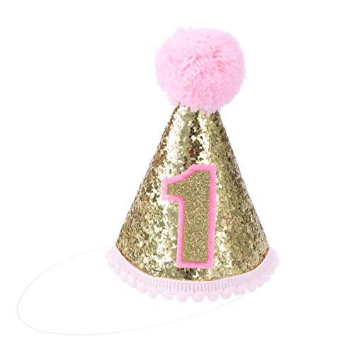 Toyvian 1st birthday hat glitter cone hat diademas ajustables de tiara sparkle princess birthday hat para bebé niña (rosa)