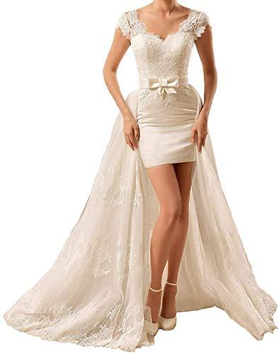 Damen Brautkleider Lang V-Ausschnitt Kurzarm Spitze Brautkleid Hochzeitskleider mit Abnehmbare Schleppe Standesamtkleid Elfenbein Weiß
