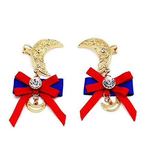 YTGUEVKDH Exquisitos Clips de Oreja en Contraste Azul y Rojo Lady Bow Moon Pendientes Color Exagerado Accesorios de joyería de Metal