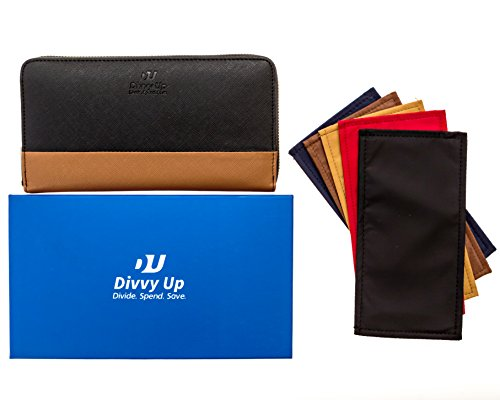The Great Divide. A Cash Budget Wallet with 5 Magnetic Cash Envelopes by Divvy Up. (Black & Tan)