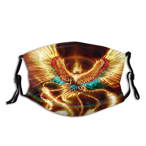 Face Cover Flaming Phoenix Feather Mask Print Design Balaclava Bandanas Reusable Windproof Anti-Dust Adjustable Earloops Headwear Outdoor Motorcycle Running Dust Mask With 2 Filters For Teen Men Women
