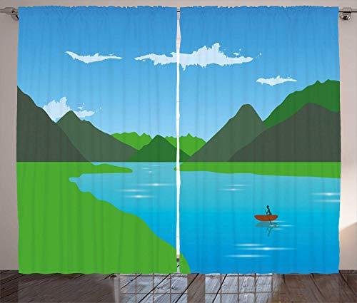 Tr674gs Landschaftsvorhänge, Kanufahren auf dem Fluss mit Bergen, Wohnzimmer Schlafzimmer Fenster Drapieren 2 Paneel-Set, 20 x 190 cm, Azurblau Farngrün
