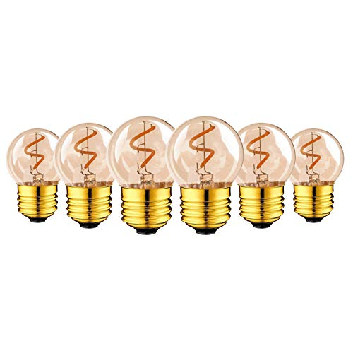 6er Pack - Außenleuchten-Ersatzlampen, Genixgreen G40 Mini Globe LED-Spiralen-Glühlampen E27 Edison Schraube 1W LED-Birne Braunglas 10W Ersatzäquivalent Ultra Warm White 2200K