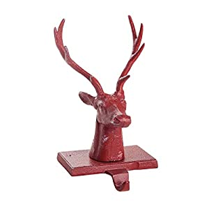 Deer Head Stocking Holder features a stag head with large antlers; Perfect for displaying the stocking of a sportsman Stocking holder is made of iron metal with rosy red finish Christmas stocking holder measures approximately 8.3 x 4.6 x 1.3 inches P...