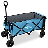 LEBLEBALL Outdoor Beach Collapsible Folding Portable Heavy Duty Large Capacity Utility Wagon All Terrain Wagon Cart with 2 Cup Holders and Big Wheels Brake for Beach, Camping, Garden-Blue - Best Reviews Guide