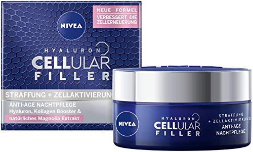 NIVEA Hyaluron Cellular Filler Anti-Age Nachtpflege Creme (50 ml), regenerierende Gesichtspflege mit Magnolia Extrakt, Anti Falten Feuchtigkeitspflege mildert Falten über Nacht