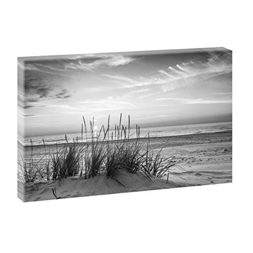 Querfarben Sonnenuntergang am Meer   Panoramabild im XXL Format   Poster   Wandbild   Fotografie   Trendiger Kunstdruck auf Leinwand Größen (120 cm x 80 cm, Schwarz-Weiß)