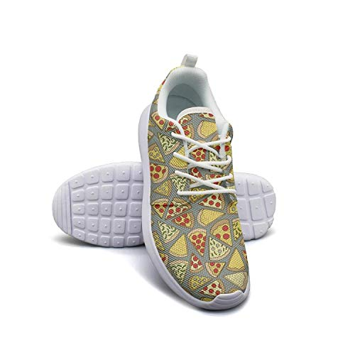 LOKIJM Camp Chef Pizza Party White Sneakers for Women Slip on Comfortable and Lightweight Best Running Shoes