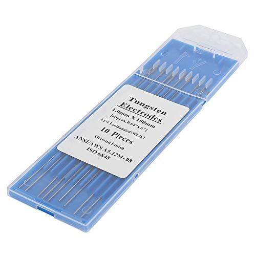 Electrodos de soldadura TIG, 10 electrodos de tungsteno de lantano (oro, WL15) para soldadura de aleación de metal de acero inoxidable(1.0mm*150mm)