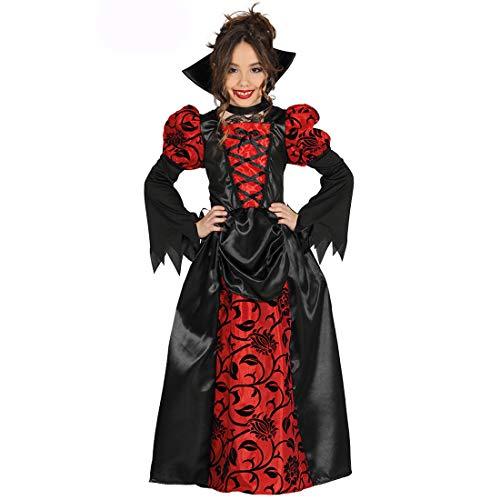NET TOYS Disfraz de Vampiro nio - Rojo-Negro 5 - 6 aos, 110 - 115 cm - Elaborado Vestido baronesa Disfraz Infantil condesa para nia - Inmejorable para Halloween y Fiestas de Horror