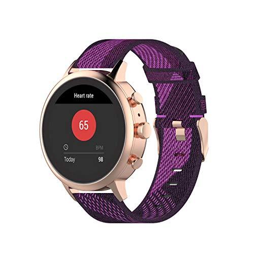 DKEnjoy 18MM Nylon Wristband Replacement Accessory Sports Watch Straps Bracelet Compatible for Fossil Women's Sport/ Charter HR/Gen 4 Q Venture HR/ Gen 3 Q Venture Smartwatch (Purple)