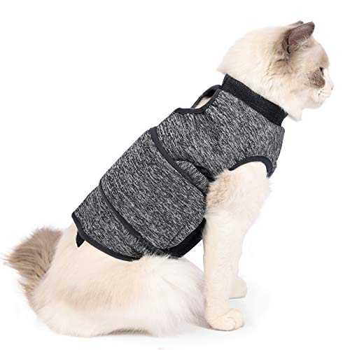 Lianzimau Cat Anxiety Jacket Calming Vest for Fireworks, Travel, Separation,Thunder Frightened Relief Solution Shirt for Keeping Cats Calming Wrap (L, Grey)