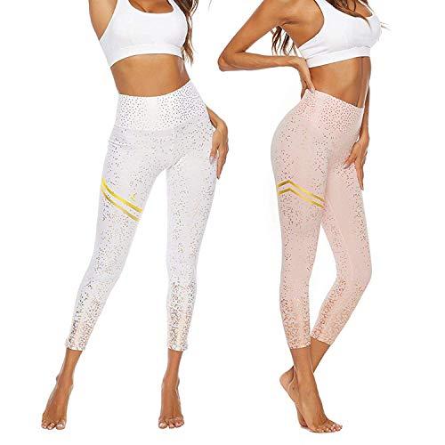 ShyaWorld Mallas Pantalones Deportivos Leggings Mujer Yoga de Alta Cintura Elásticos y Transpirables para Yoga Running Fitness
