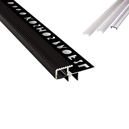 T-4058 LED Alu Fliesenprofil Treppenprofil Stufen 10mm schwarz + Abdeckung Abschlussleiste Fliesen für LED-Streifen-Strip 2m milky