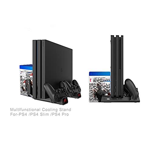 Suporte vertical PtevSoh para console PS4 / PS4 Slim / PS4 Pro, cooler PS4 com ventilador duplo, suporte para 10 jogos, estação de carregamento com indicadores para Playstation 4 DualShock 4 controladores sem fio.
