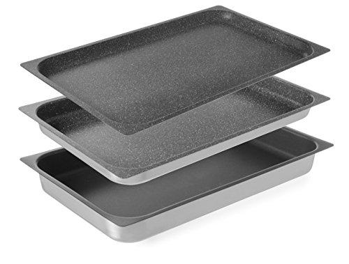 HENDI Gastronormbehälter, mit antihaftbeschichtet, geeignet zur Verwendung in Öfen, Backblech, Einschubblech, GN 1/1, 530x325x(H)65mm, Aluminium