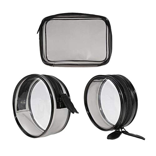 3Pc Mode wasserdichte PVC Transparente Kosmetiktasche Reisereißverschluss Aufbewahrungstasche Kosmetiktasche Reise Transparente Kosmetiktasche-EIN
