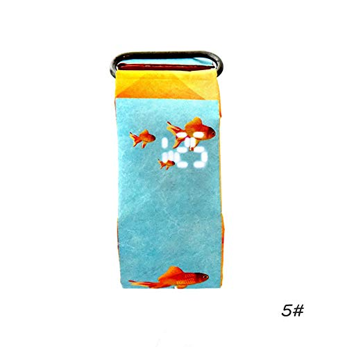 Jayvee Papier Uhr, LED wasserdicht Tyvek, Bügel Digital-Uhr Herz # 5 Goldfish