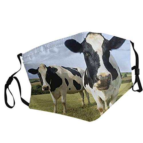 Adult Reuse Face_mask Face_Cover with Filter Pocket Nose Wire, Cute Milk Cow Washable Cloth Dust Coverings with Adjustable Ear Loops for Men Women, Breathable