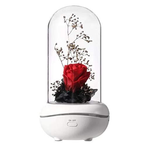 Wufansshop Difusor De Aromaterapia De Rosa Eterna, Humidificadores De Aroma De Aceite Esencial, Luz De Noche Led De 7 Colores, Tamaño De Coche De Oficina, Hogar, 6,5 × 12 Cm