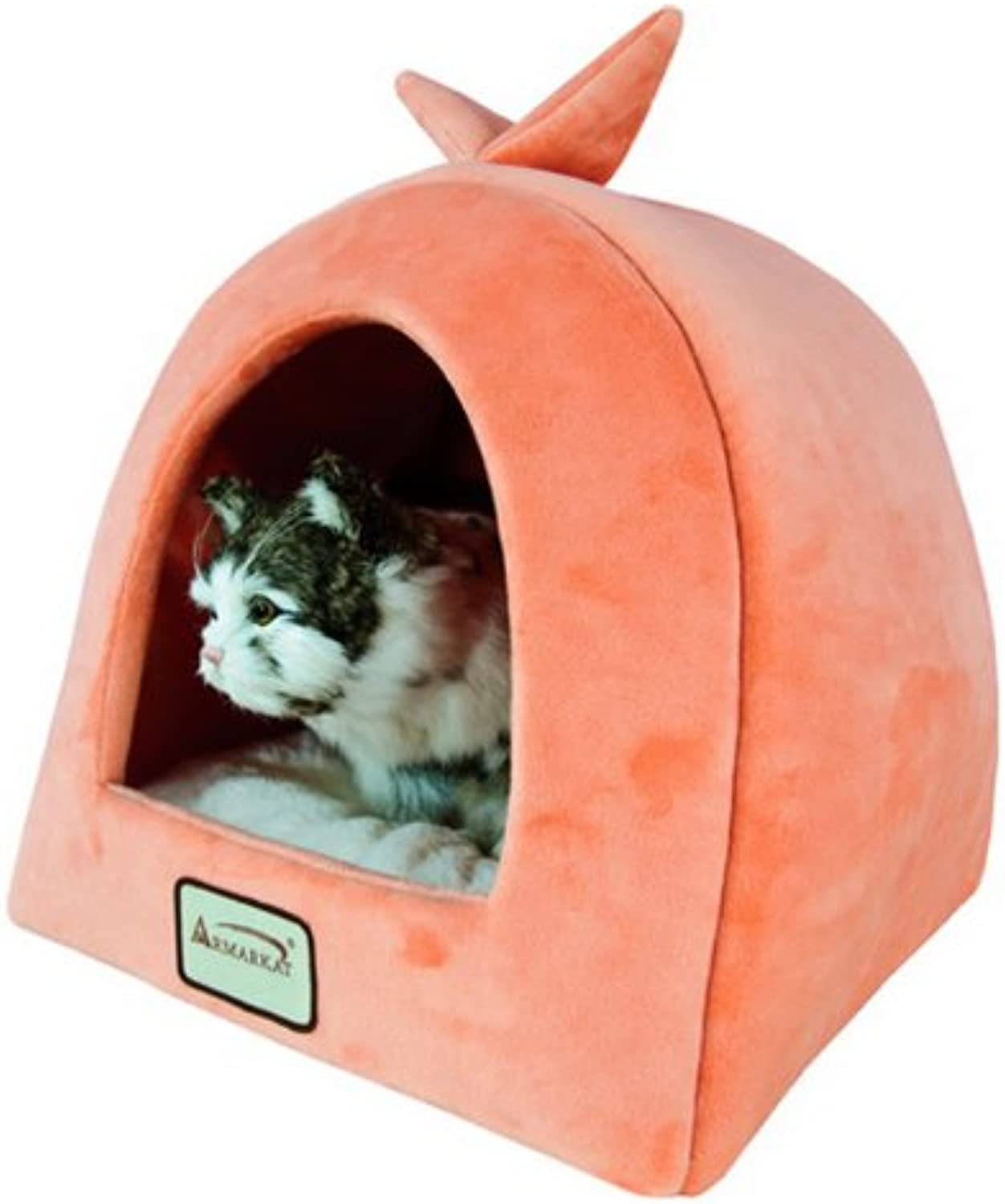 Armarkat Plush And Soft Velvet W  Waterproof Cat Sleeper Bed In orange And Ivory by Armarkat