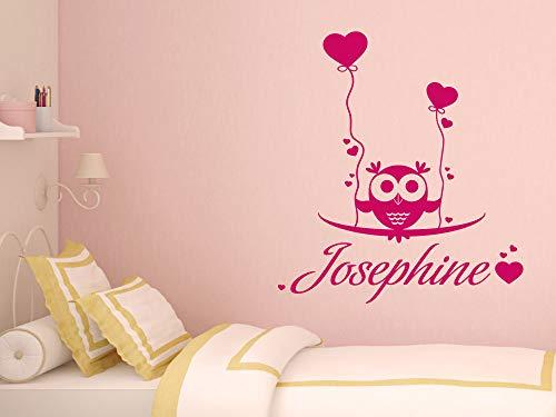 GRAZDesign Dekoration Babyzimmer Süße Eule mit Wunschnamen - Aufkleber über Kinderbett - Wickelkommode - Babybett personalisiert -...
