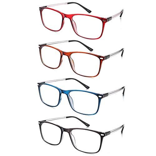 EFE Gafas de Lectura 4 Unidades Gafas con Flexible Bisagra de Resorte Montura Cuadrada Vista de Cerca Estilo Wayfarer Hombre y Mujer (+2.50)
