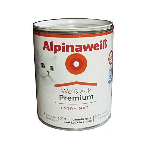Alpinaweiß 2 Liter Weißlack Premium Weiß Extra Matt 2in1 Grundierung & Lack, Acryllack