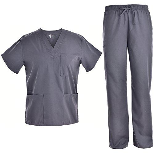 Unisex V Neck Scrubs Set Medical Uniform - Women and Man Nursing Scrubs Set Top and Pants Workwear JY1601(Pewter, L)