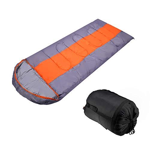 AllRight Sac de Couchage Imperméable Confort Léger pour Voyager Camper Randonner et Activités de Plein Air Orange&Gris