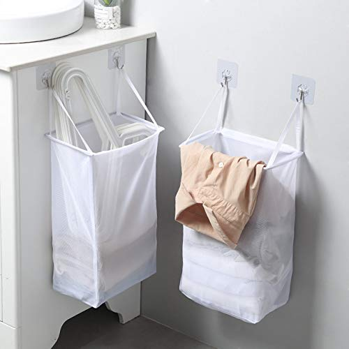 FANTASIEN 2 Pack Mesh Hanging Laundry Hamper BagOver The Door Closet Organizer Hanging Clothes Basket Folding Collapsible Door Hooks with Handles White