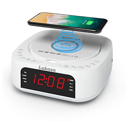 Lukasa Bluetooth CD Player Tabletop Boombox Stereo Clock Wireless Charger,Home Digital FM Radio Dual Alarm Clock Top-Loading Disc Mp3 Players USB AUX Sleep Timer (White)