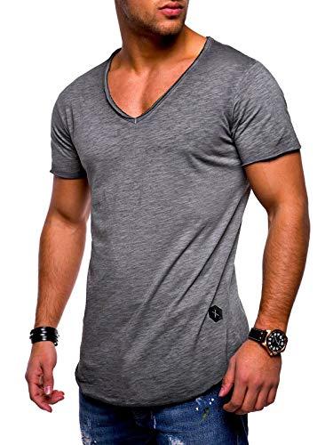 Rello & Reese Herren T-Shirt Kurzarm Basic Oversize V-Neck MT-7102 [Dunkelgrau, L]