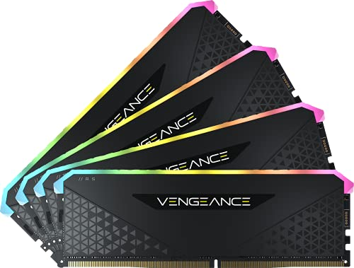 Corsair Vengeance RGB RS 128Go 4x32Go DDR4 3200MHz C16 Mémoire de Bureau Éclairage RGB Dynamique, Temps de Réponse Serrés, Compatible avec AMD TRX40, Intel 400/500 AMD 300/400/500 Series Black