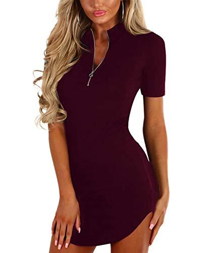 YOINS Sexy Damen Oberteile Kurz Sommerkleid V Ausschnitt Kleider Schwarz Damen Elegant Einfarbig Abendkleider Party Rotwein L