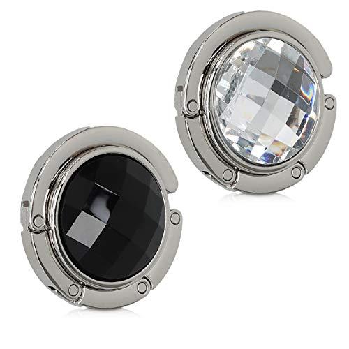 kwmobile 2X Tisch Handtaschenhalter Haken - Faltbare Antirutsch Taschenhaken Halterung Handtaschen Handtaschenhalter Diamant Schwarz Weiß Silber