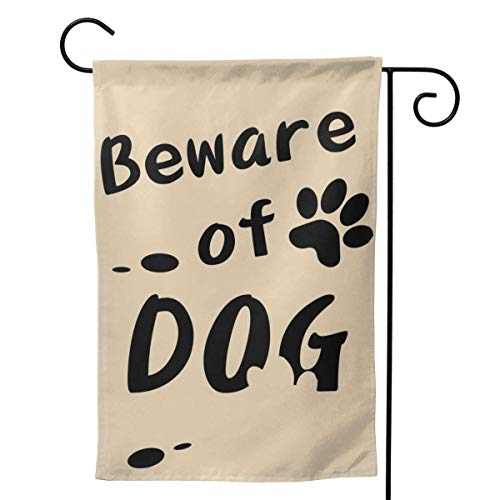 PSDJKI Beware of Dog Garden Flag Simple Letters Vertical Double Sided Garden Yard Banner Lawn Outdoor Decoration Size 12.5x18/28x40 Inch
