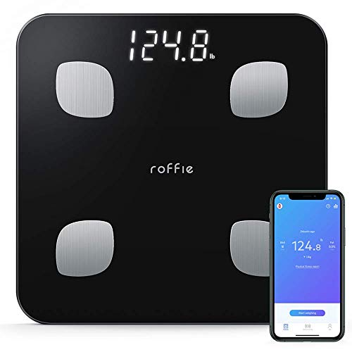 Roffie Body Fat Scale, Digital Smart Weight Body Scale Composition Analyzer Wireless Bathroom High-Precision BMI Scale Health Monitor 2 Cm Thick Sync with Smartphone App 400 Lbs Black