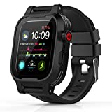 ShellBox Case Compatible with Waterproof Apple Watch Case 44mm Series 6/SE & Series 5/4, IP68 Waterproof Built-in Screen Protector with Soft Band for Iwatch Series 6/5/4/SE 44mm (Black)