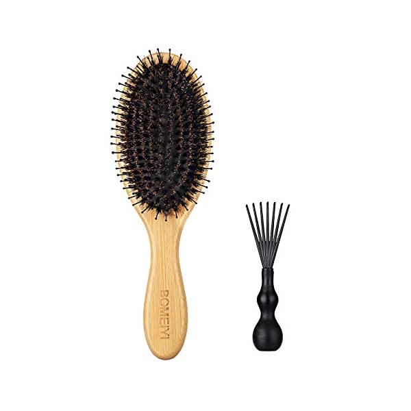 Beauty Shopping Hair Brush, Natural Boar Bristle Hair Brush, Wooden Bamboo Hair