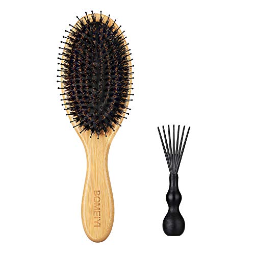Hair Brush, Natural Boar Bristle Hair Brush, Wooden Bamboo Hair Brush for Women Mens, Paddle Brush Curly Hair Brush for Thick Hair & Anti Static Detangling Best Paddle Brush for Reducing Hair Breakage