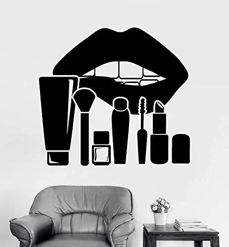 Etiqueta de la pared del vinilo del maquillaje de labios Cosméticos Salón de belleza Salón de belleza Sala de juegos Etiqueta de la pared